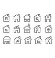 home icons thin line modern houses homes with vector image