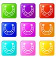 horseshoe set 9 vector image vector image