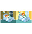 kid sleeping and waking up vector image