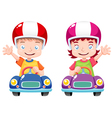 Kids on car vector