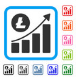 litecoin growing trend framed icon vector image vector image