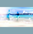 man and woman silhouette on seaside hold hands vector image
