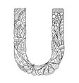 mandala letter u monogram vector image vector image