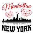 New York city Typography Graphic with hearts and vector image vector image