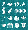 Newborn Baby Icons and Symbols vector image vector image