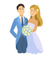 newlyweds wedding bride and groom engaged vector image vector image