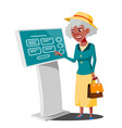 old woman using atm machine digital terminal vector image vector image