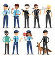 policeman characters funny cartoon man pilice vector image
