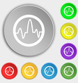 pulse Icon sign Symbol on eight flat buttons vector image vector image