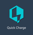 q letter logo with thunderbolt lightning nagative vector image