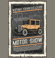retro vehicle club vintage motor museum show vector image