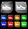 Running shoe icon sign Set of ten colorful buttons vector image