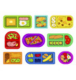 school lunch boxes various shapes and colors vector image