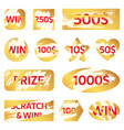 scratch lottery card lottery win ticket golden vector image
