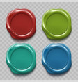 set colored wax seal isolated on transparent vector image