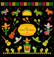 set of traditional symbols for cinco de mayo vector image