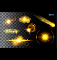 set realistic golden sparkling light vector image vector image