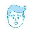 Silhouette avatar man head to social user vector image