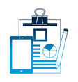 smartphone document report and pencil vector image vector image