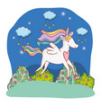unicorn outdoors cartoon vector image