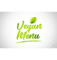 vegan menu green leaf word text logo icon vector image vector image