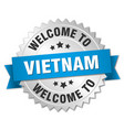 vietnam 3d silver badge with blue ribbon vector image vector image