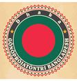 Vintage label cards of Bangladesh flag vector image