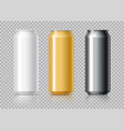 white black and gold aluminum cans vector image