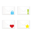 White closed envelopes with marks icon set vector image