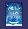 winter poster with spruces and snowflakes vector image vector image