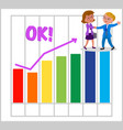 women teamwork with good bar chart vector image