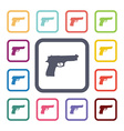 gun flat icons set vector image