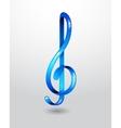 Glass blue treble clef vector image