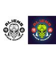aliens emblem badge label or shirt print vector image vector image