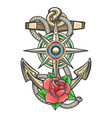 anchor with compass windrose and rose flower vector image