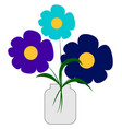 blue colored flowers in vase on white background vector image vector image