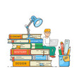 book readers club self education concept boy vector image
