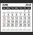 calendar sheet june 2018 vector image