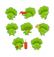 cartoon broccoli characters set vector image vector image