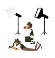 cartoon photographers and equipment set vector image