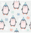 childish seamless pattern with cute penguin vector image vector image