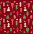 christmas deer pine tree forest seamless pattern vector image vector image