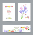 collection invitation cards with crocus for your vector image vector image