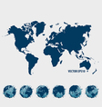 Collection of world map and modern globe vector image vector image