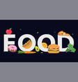 colorful food banner with fresh and takeaway foods vector image