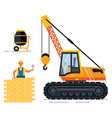 construction equipment and man building wall set vector image vector image