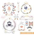 Cute retro floral set with doodle decorwedding vector image vector image