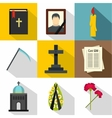 Death of person icons set flat style vector image vector image