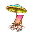 deck chair with umbrella and slippers ink vector image