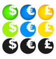dollar euro and pound symbols in circles vector image vector image
